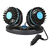 Car Fan 12V, Electric Car Cooling Fan with 360 Degree Adjustable Dual Head That Plugs into Cigarette Lighter/Low Noise Automobile Vehicle Fan for Car Truck Van SUV RV Boat