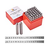 PandaHall Elite 36 Pcs Letter and Number Metal Stamp Set, 1/4' 6mm, Alphabet A to Z and Number 0 to 9 and Symbol, Iron Uppercase Stamps Punch Press Tool for Imprinting on Metal Jewelry Leather Wood