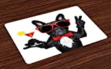 Lunarable Funny Place Mats Set of 4, French Bulldog Holding Martini Cocktail Ready for The Party Nightlife Joy Print, Washable Fabric Placemats for Dining Table, Standard Size, White Black