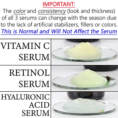 Anti Aging Serum 3-Pack for Face - Vitamin C Serum, Retinol Serum, Hyaluronic Acid Serum - Face Serum Full Regimen 5