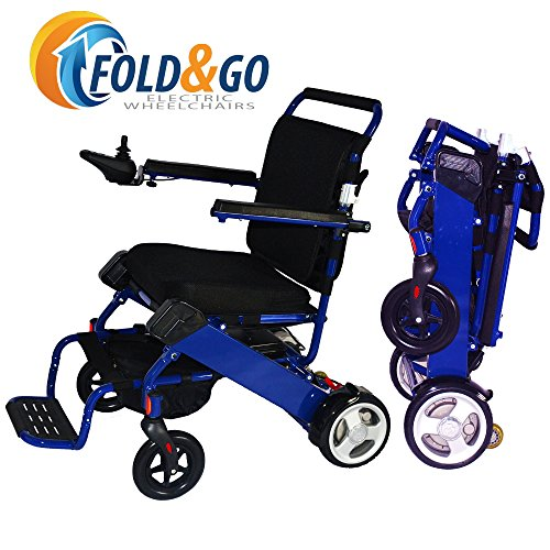 FOLD-N-GO Power Wheelchair (Royal Blue) | Only 46 LBS with Battery | Driving Range 12 Miles Per Charge | Max Speed 4 MPH | Airplane Approved Lithium Battery | 3-Year Warranty | Electric Wheelchair