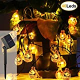 ZOUTOG Halloween Lights, Solar Pumpkin String Lights,16.5ft 40 LED Outdoor Decorative Lights for Garden, Patio, Gate, Yard, Halloween Christmas Decoration (IP65 Waterproof, Warm White)
