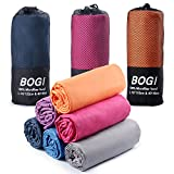 BOGI Microfiber Travel Sports Towel-(S:16''x32'',2Pcs)-Dry Fast Soft Lightweight Absorbent&Ultra Compact-for Camping Gym Beach Bath Yoga Backpacking Fitness+Gift Bag&Carabiner(S:Orange)