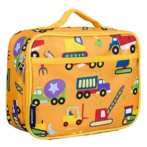 Wildkin Lunch Box, Insulated, Moisture Resistant, and Easy to Clean with Extras for Quick & Simple Organization, Ages 3+, Perfect for Kids or On-The-Go Parents, Olive Kids Design, Under Construction