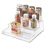 InterDesign Linus Plastic 3-Tier Spice, Stadium Organizer Rack for Kitchen Pantry, Cabinet, Countertops, Bathroom, Desk, Clear