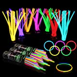 300 Glow Sticks Bulk Party Supplies - Glow in The Dark Fun Party Pack with 8' Glowsticks and Connectors for Bracelets and Necklaces for Kids and Adults