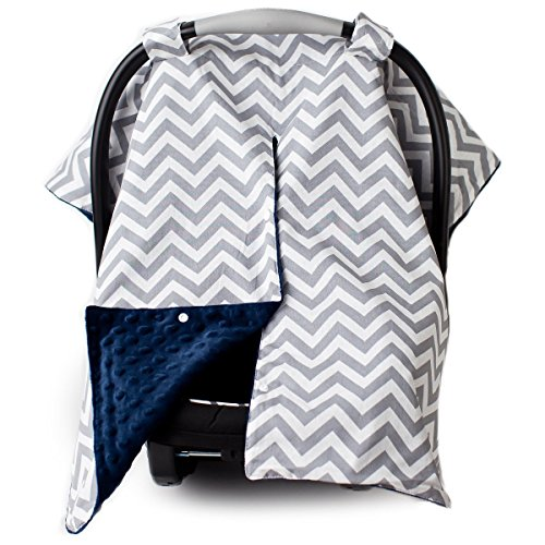 2 in 1 Carseat Canopy and Nursing Cover Up with Peekaboo Opening   Large Infant Car Seat Canopy for Girl or Boy   Best Baby Shower Gift for Breastfeeding Moms   Chevron Pattern with Navy Blue Minky