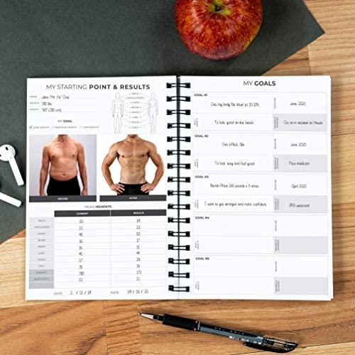 Clever Fox Fitness & Workout Journal/Planner Daily Exercise Log Book to Track Your Lifts, Cardio, Body Weight Tracker - Spiral-Bound, Laminated Cover, Thick Pages, A5 5