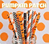 Charmed orange and black Halloween paper straw in pumpkin jack o lantern, bat, polka dot, chevron, stripe design. Pack of 125