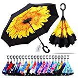 Owen Kyne Windproof Double Layer Folding Inverted Umbrella, Self Stand Upside-Down Rain Protection Car Reverse Umbrellas with C-Shaped Handle (New Sunflower)