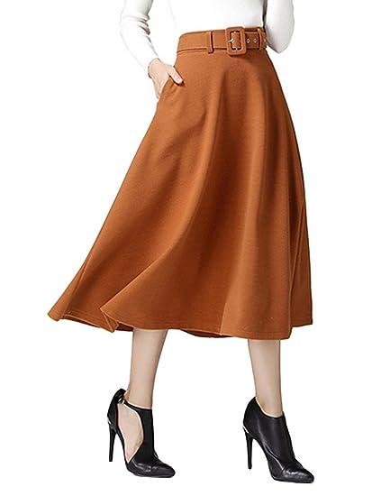 CR Women's Brown High Waist A-line Flared Long Skirt Winter Fall Midi Skirt Brown X-Large