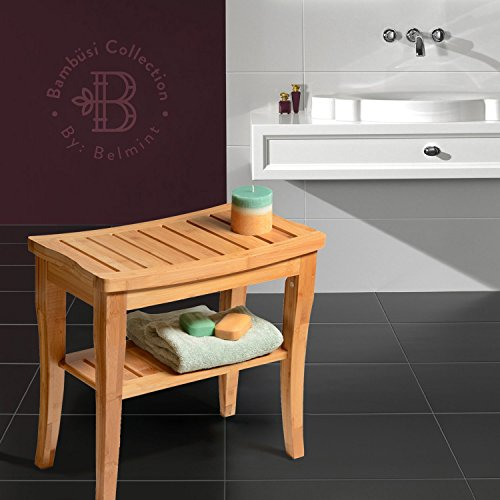 Bamboo Shower Bench with Storage Shelf, Bath Seat Bench Stool ...