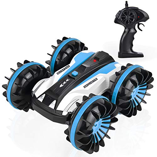 GotechoD RC Car Boat Remote Control Car Boat Amphibious Stunt Car 4WD Off Road 2.4GHz Radio Controlled Monster Truck High Speed Double Side Race Car 360 Degree Spins and Flips Updated Version Blue