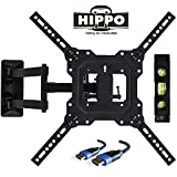 HIPPO TV Wall Mount Bracket with Full Motion Swing Out Tilt for Most 32' 39' 40' 42' 43' 45' 48' 49' 50' 55' LED LCD OLED Plasma Flat Screen Monitor Up to 88 Lbs VESA 400x400mm 6.5 ft HDMI Cable