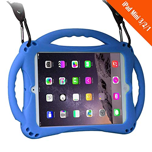 TopEs iPad Mini Case Kids Shockproof Handle Stand Cover&(Tempered Glass Screen Protector) for iPad Mini, Mini 2, Mini 3 and iPad Mini Retina Models (Blue)