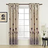 IYUEGO Floral Polyester Purple Blackout Rod Pocket Curtain Draps With Multi Size Customs 100' W x 96' L (One Panel)