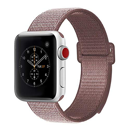 penen for Apple Watch Band 38mm 42mm Soft Nylon Watch Sport Loop Band Adjustable Closure Wrist Strap Breathable Woven Nylon Replacement Strap for Apple Watch Series 3,2,1 (Rose Pink, 38 mm)