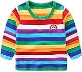 Moon Tree Baby Boys Rainbow Striped Shirt Cotton Long Sleeve T-Shirts T-Shirts 2T