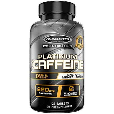 Muscletech Essential Series Platinum 100% Caffeine Tablets – 125 Count