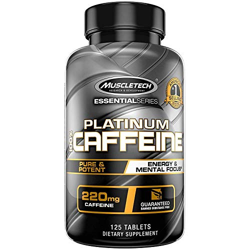 Muscletech Essential Series Platinum 100% Caffeine Tablets – 125 Count