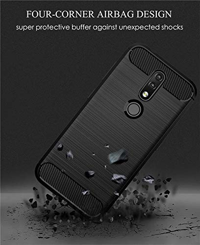 Prime Retail Dual Layer Carbon Fiber Hybrid Finish Pudding Back Cover Clear Thin Case for Nokia 4.2 3