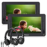 NAVISKAUTO 10.1' Dual Screen Portable DVD Player for Car, Headrest Video Player with 5-Hour Rechargeable Battery, Last Memory Function and Two Headphones