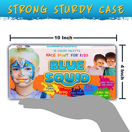 Blue Squid Face Paint 12 Color Palette | 30 Stencils, 3 Brushes ...