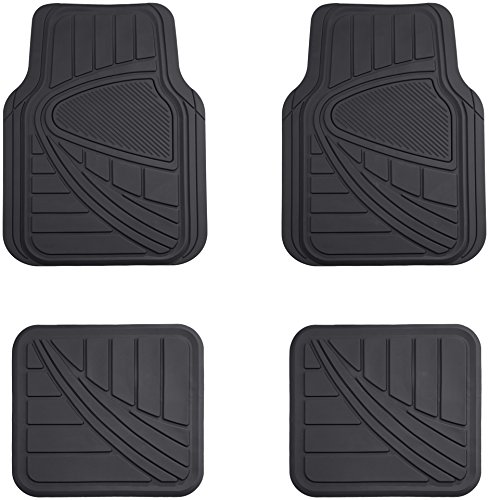 AmazonBasics 4 Piece Car Floor Mat, Black