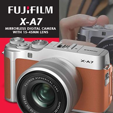 FUJIFILM-X-A7-Mirrorless-Digital-Camera-with-15-45mm-Lens-Camel-Xpix-Flash-32GB-Memory-Card-Case-Strap-Card-Reader-Tripod-UV-Filter-Photo-Editing-Software-Xpix-Cleaning-Accessories