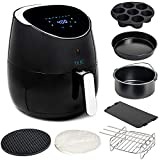 Yedi Total Package XL Air Fryer, Deluxe Accessory Kit, 100 Recipes Included, Cooking Basket Divider, 2Yr Warranty. Healthy Air Crisper Oiless Oven (5.8 QT)