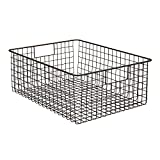 "InterDesign Classico Wire Storage Basket with Handles - 16"" x 12"" x 6"", Bronze, Extra Large"
