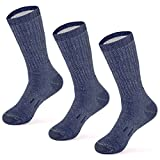 MERIWOOL Merino Wool Hiking Socks for Men and Women – 3 Pairs Midweight Cushioned – Warm n Breathable – Large/Blue