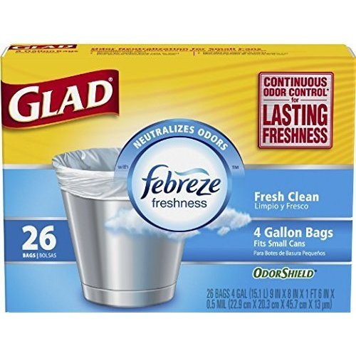 Glad Small Trash Bags with Odor Shield, 4 Gallon 26 bags (Pack of 2)