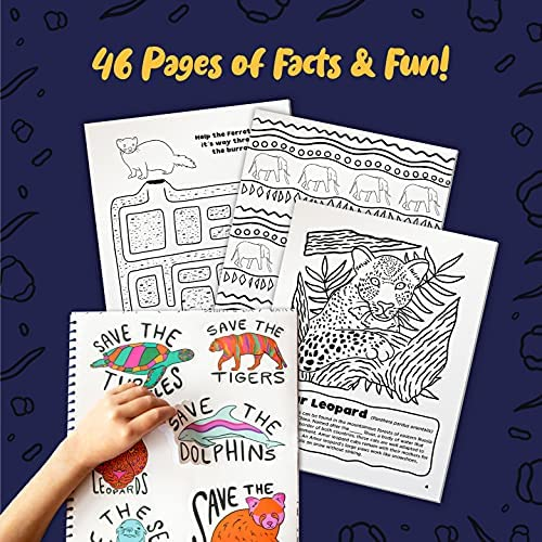 DOODLE HOG Endangered Animals Activity and Toddler Coloring Book - 46 Pages of Facts Activities Stickers and Illustrations - Hours of Education and Fun for Kids Ages 4 6 8 10