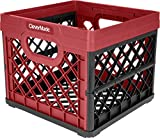 CleverMade Collapsible Milk Crate - Stackable Collapsible Storage Bin/Container/Utility Tote, 25 Liters, Red