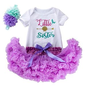 FYMNSI Baby Girl 1st First Birthday Outfit Newborn Infant Mini Mermaid Cake Smash Tutu Set Cotton Short Sleeve Romper + Skirt + Flower Headband 3pcs Party Clothes Sunsuit Bodysuit 0-18 Months 51Z3CUv0k9L