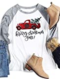 EGELEXY Merry Christmas Y'all Baseball T-Shirt O-Neck Female Casual Lady Top Tee Size XXL (Gray)