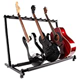 Glarry Iron Folding Multiple Guitar Bass Stand 9 Holder Rack Stand Black