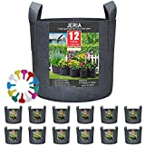 JERIA 12-Pack 5 Gallon, Vegetable/Flower/Plant Grow Bags, Aeration Fabric Pots with Handles (Black), Come with 12 Pcs Plant Labels
