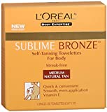 L'Oreal SUBLIME BRONZE Self-Tanning Towelettes For Body Medium Natural Tan 6 Each (Pack of 2)