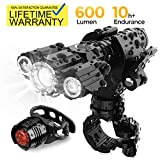 Updated 2019 Version USB Rechargeable Bike Light Set, Runtime 10+ Hours 600 Lumen Super Bright Headlight Front Lights and Back Rear LED, 4 Light Mode Fits All Bicycles, Road, Mountain