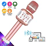 Microphone with Disco Lights , Karaoke Microphones Bluetooth Wireless Singing Speaker for PC, iPhone, Ipad, Android Party Kids (Rose)