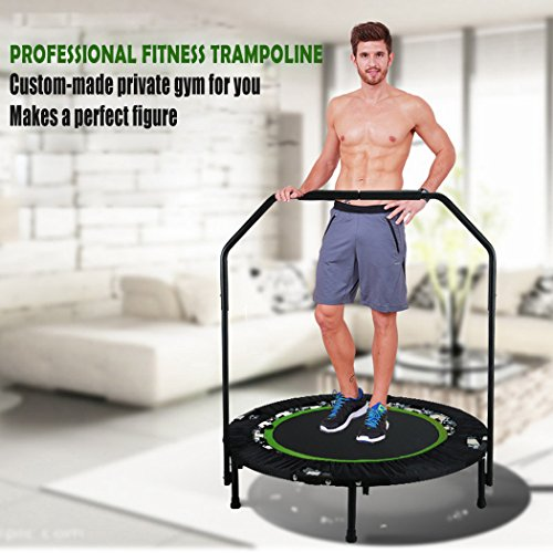 ANCHEER Foldable 40' Mini Trampoline Rebounder, Max Load 300lbs Rebounder Trampoline Exercise Fitness Trampoline for Indoor/Garden/Workout Cardio