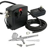 F2C TC-100 Black Mini Air Compressor Airbrush Kit Airbrush Compressor Kit Dual Action Spray Air Brush Set (TC-100K W/Airbrush Kit)
