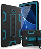 XIQI Samsung Galaxy Tab A 10.1 2016 Case, Three Layer Hybrid Rugged Heavy Duty Shockproof Anti-Slip Case Full Body Protection Cover for Tablet SM-T580/T-585,Black/Bule