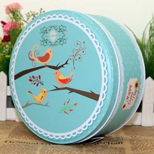 Speedmar Home Decoration Supplies Small Round Cookie Gift Box Tinplate Moon Cake Box (Three Birds) 51Z7cSctHnL