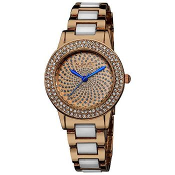 August Steiner Women's Crystal Glitz Watch - Crystal Filled Bezel On Ceramic Link Rose Gold Bracelet - AS8052