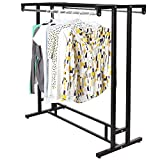 MyGift Stainless Steel Double Rod Hangrail Department Store Style Clothes/Garment Floor Display Rack