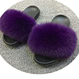 Real F-ox Hair Slippers Women Fluffy Sliders,F-ox Hair D Purple,8.5