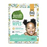 Seventh Generation Baby Wipes, Free & Clear Unscented and Sensitive, Gentle as Water, with Flip Top Dispenser, 504 count